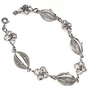 """""""40s VINTAGE 925 Silver Cannetille & Crystal Link"""